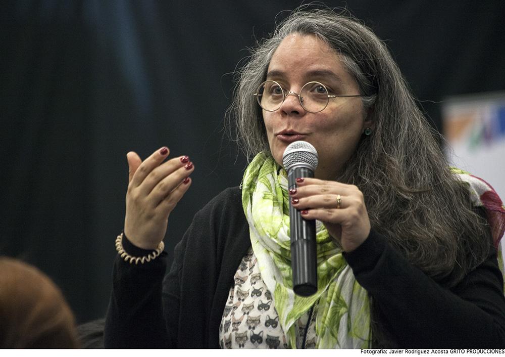 Patricia Riera, directora regional Cataluña CEDRO (España) interviene en las preguntas del público.