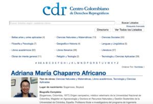 Directorio de Autores Afiliados al CDR - Perfiles de autores colombianos