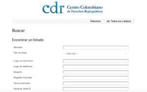 Directorio de Autores Afiliados al Centro Colombiano de Derechos Reprográficos - CDR